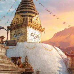 Nepal Holidays Enchanting Travels Nepal Tours Swayambhunath - the Buddhist temple and the village center on the outskirts of Kathmandu in Nepal. Monkey Temple - Nepal travel guide