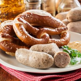 Bavarian breakfast with white sausage pretzel and beer, Germany Tours, Europe