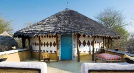 Exterior view at hotel Planet Baobab in Kalahari Salt Pans, Botswanna