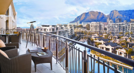 Balcony with table mountain view at One & Only Resort in Cape Town, South Africa