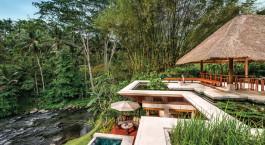 Pool area at Four Seasons Resort Bali at Sayan Hotel in Ubud, Indonesia