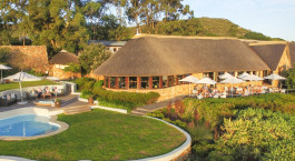 Pool area at Grootbos Garden Lodge in Overberg, South Africa