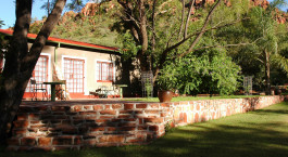 Exterior view of Waterberg Wilderness Lodge in Waterberg Plateau, Namibia
