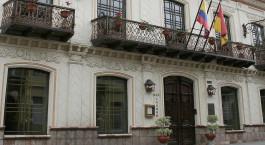 Außenansicht des Mansion Alcazar Hotel in Cuenca, Ecuador