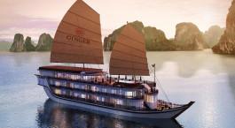 Außenansicht der Ginger Cruise Halong-Bucht, Halong Bucht in Vietnam