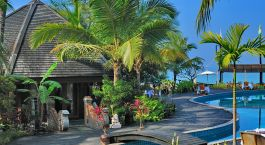 Pool area at Aureum Resort & Spa, Ngapali Beach in Myanmar