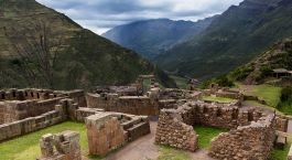 Enchanting Travels Peru Tours Sacred Valley View of Inca Ruins near the town of Pisac in the Sacred Valley,