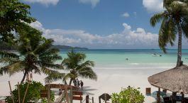 Beach view from Hotel Le Duc De Praslin in Praslin Island, Seychelles