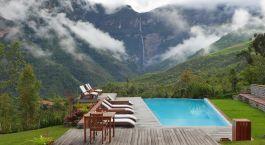 Swimming pool at Gocta Lodge in Chachapoyas, Peru