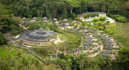 Overview von dem Amanjiwo Hotel in Indonesien, Borobudur