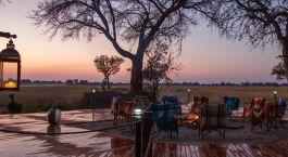 Camp fire at Kadizora Camp in Okavango Delta, Botswana