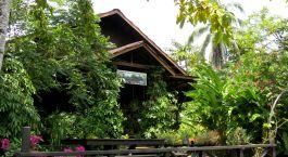 Außenasicht der Kinabatangan Riverside Lodge in Malaysia, Grüne Pflanzen und Bäume