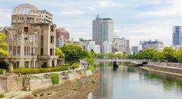 Enchanting Travels Japan Tours Hiroshima View on the atomic bomb dome in Hiroshima Japan. UNESCO World Heritage Site