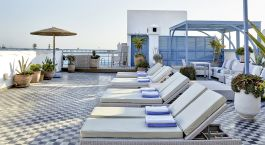 Pool area at Heure Bleue Palais in Essaouira, Morocco