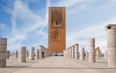 Enchanting Travels Morocco Tours Morocco,Rabat. The Hassan Tower opposite the Mausoleum of King Mohamed V.