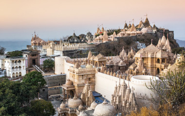 Jain temples on top of Shatrunjaya hill, Palitana, Gujarat, India