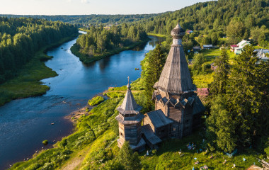 Green forests of Leningrad region and Republic of Karelia, Russia.