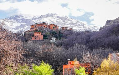 Exterior view of Kasbah du Toubkal Hotel in High Atlas, Morocco