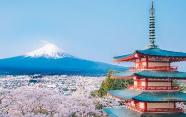 Enchanting Travels Japan Tours Red Pagoda with Mt Fuji on the background