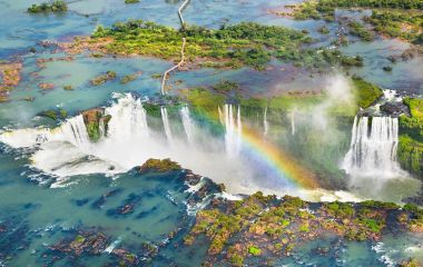 Beautiful aerial view of Iguazu Falls - One of the Seven Natural Wonders of the World - Foz do Iguaçu, Brazil