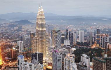 Aerial view of Kuala Lumpur at nightfall, Malaysia, Asia