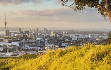 Enchanting Travels New Zealand Tours Skytower in Autumn at Auckland , New zealand