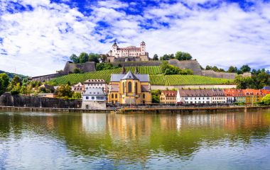 Authentic beautiful towns of Germany - Wurzburg, view with vineyrds and castle, Europe