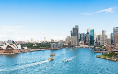 Major architectural landmarks of the city of Sydney and Australia around Sydney harbour