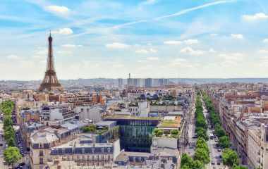 Enchanting Travels France Tours Beautiful panoramic view of Paris from the roof of the Triumphal Arch. View of the Eiffel Tower