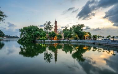Tran Quoc pagoda, the oldest temple in Hanoi, Vietnam