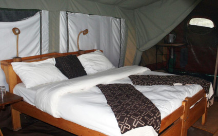 Double bed at Serengeti North Wilderness Camp in Northern Serengeti, Tanzania