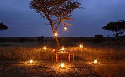 Gedeckter Dinnertisch abends in afrikanischer Wildnis