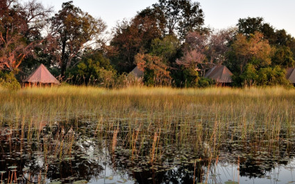 Panoramic view of Kanana Camp in Okavango Delta, Botswana