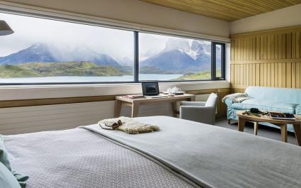 Suite mit Sicht auf Berge im Hotel Explora Patagonias