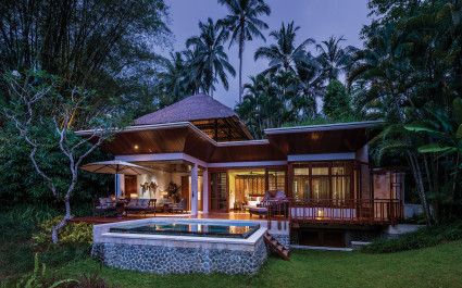 Exterior view of a guest villa at Four Seasons Resort Bali at Sayan Hotel in Ubud, Indonesia