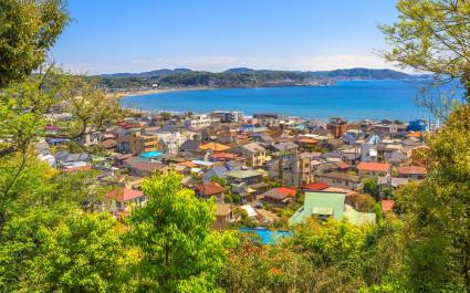View of Kamakura city and Sagami Bay from Hasedara Temple