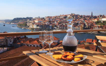 Table overlooking a wonderful view over the river in Porto, Portugal.