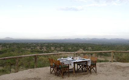 Dinner with a view at Kambi ya Tembo in West Kilimanjaro, Tanzania