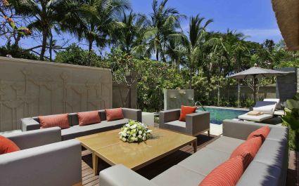 Outdoor lounge area at Sofitel Bali Nusa Dua Beach Resort Hotel in Nusa Dua, Indonesia