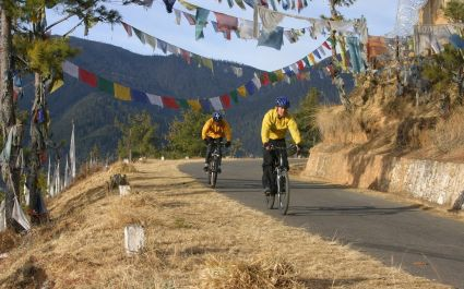 Biking in the Bhutan countryside