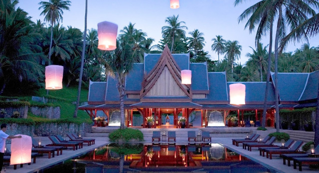 Enchanting Travels Thailand Tours Phuket Hotels Amanpuri Pool during sunset