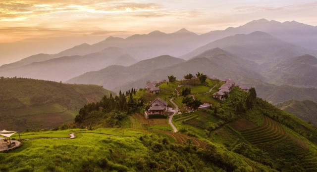 View of Topas Eco Lodge in Sapa Valley, Vietnam