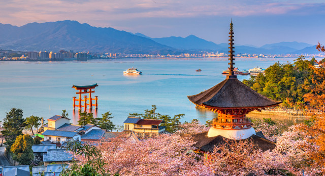 luxury vacations to Miyajima Island, Hiroshima, Japan in spring