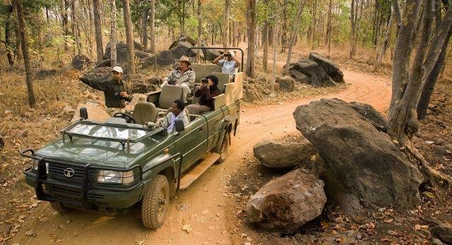 Touristen machen eine Jeep Safari im Indien Dschungel