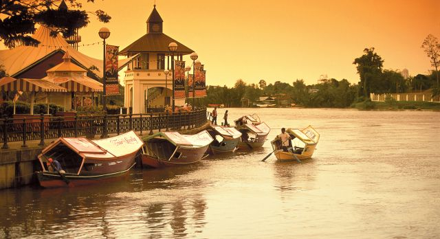 Boats in river, Malaysia