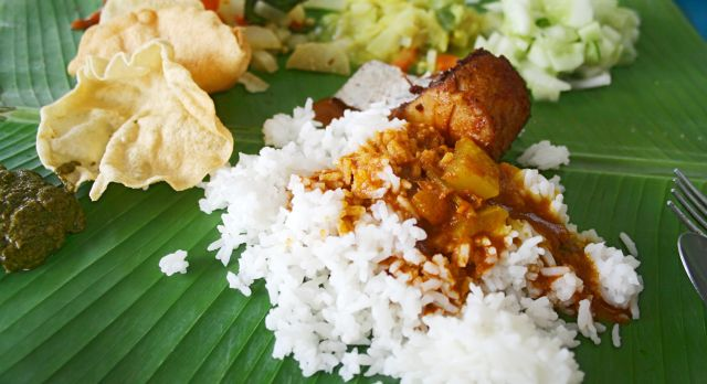 Southeast Asian street food: a banana leaf rice in Malaysia