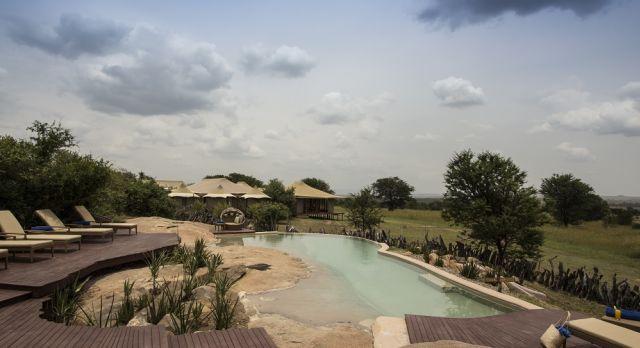 Enchanting Travels - Tanzania Tours - Serengeti (Northern) Hotel - Sayari Camp - Pool area view from rock