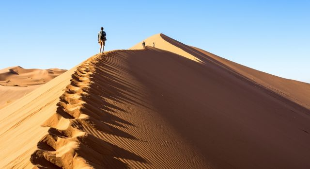 Dune walking on the Big Daddy, in Namibia