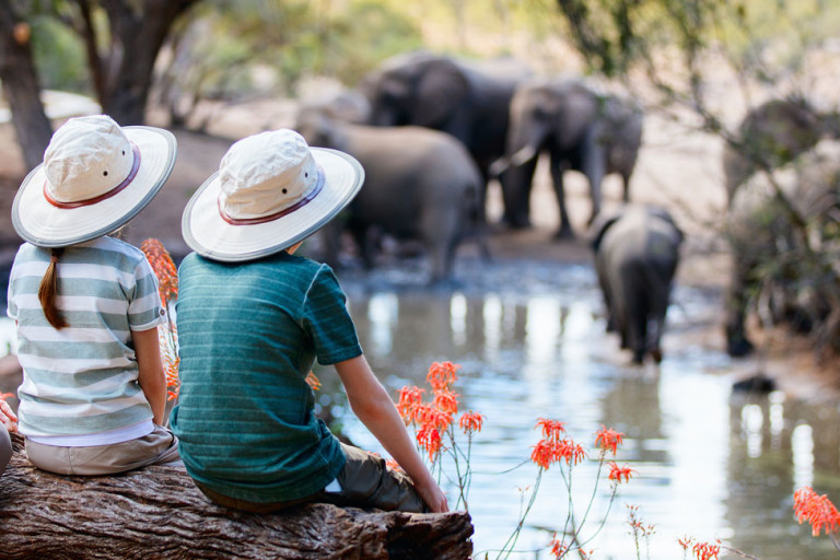 Mutter mit zwei Kindern beobachten Elefanten an einer Wasserstelle in Afrika