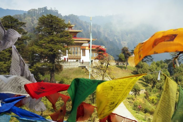 Bhutan Tourism - Prayer Flags in Thimphu